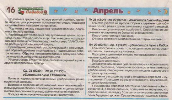 Новый посевной календарь на апрель 2019 и на этот год для огородников и садоводов Урала