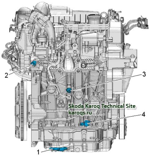 Бензиновый двигатель 1,4 TSI - расположение датчиков и компонентов