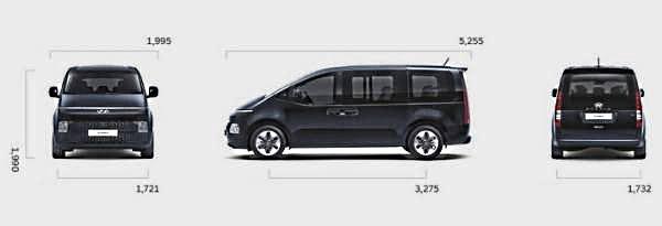 Hyundai Staria 2021 - 2022 габариты