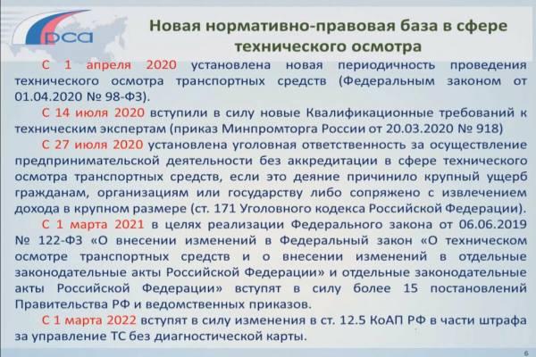 правовая база техосмотра в 2021 году